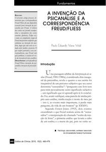 A invenção da psicanálise e a correspondência Freud- Fliess