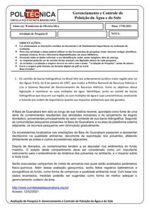 Avaliação de Pesquisa I I Gerenciamento e Controle da poluição da água e do Solo