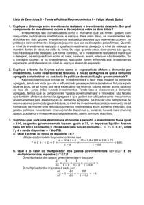 Teoria e Política Macroeconômica I Lista de Exercícios 3 Felipe Moreti Bolini