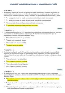 Atividade 3° Unidade  ADM Serviço de Alimentação(AOL4) Uninassau