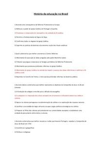 História da educação no Brasil questionario