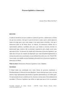 PROCESSO LEGISLATIVO E DEMOCRACIA - Josiane Flores Munis da Silva