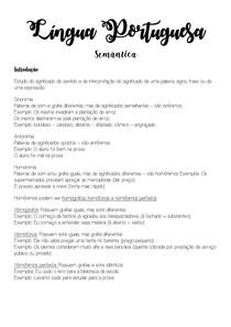 Língua Portuguesa -Semântica
