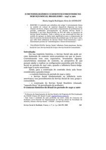 METODOLOGISMO E O DESENVOLVIMENTISMO NO SERVIÇO SOCIAL BRASILEIRO – 1947 a 1961