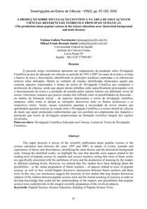 A produção sobre divulgação científica na área de educação em ciências   referenciais teóricos e principais temáticas