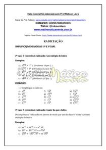 RADICIAÇÃO AULA 6 - SIMPLIFICAÇÃO DE RADICAIS parte 2 - PROF ROBSON LIERS