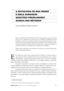 A SOCIOLOGIA DE MAXWEBER E EMILE DURKHEIM_QUESTOES PRELIMINARES ACERCA DOS METODOS