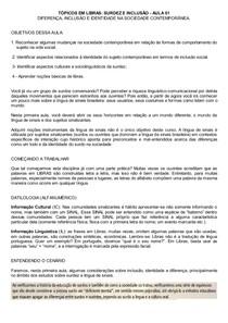 Exercícios Aula 01 TÓPICOS EM LIBRAS SURDEZ E INCLUSÃO