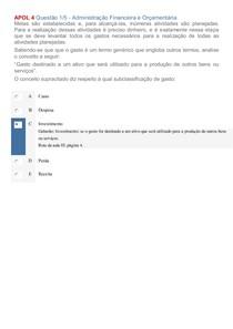 Gabarito Apol 4   Disciplinas Administração Financeira e Orçamentária e Avaliação de Empresas