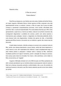 Resenha crítica do filme O Óleo de Lorenzo PDF