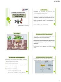 14 - Metabolismo dos aminoácidos