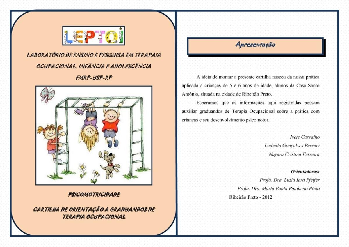 Pre-visualização do material cartilha psicomotricidade - página 1