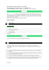 Avaliação On-Line 2 (AOL 2) - METODOLOGIA DO ENSINO DA MATEMATICA