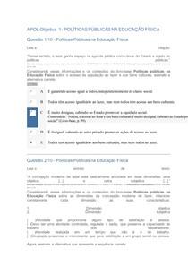 APOL Objetiva 1- Políticas Públicas na Educação Física- Uninter