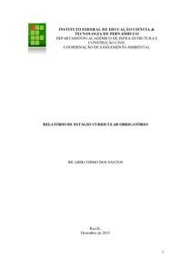 RELATÓRIO FINAL DE CURSO TÉCNICO EM SANEAMENTO