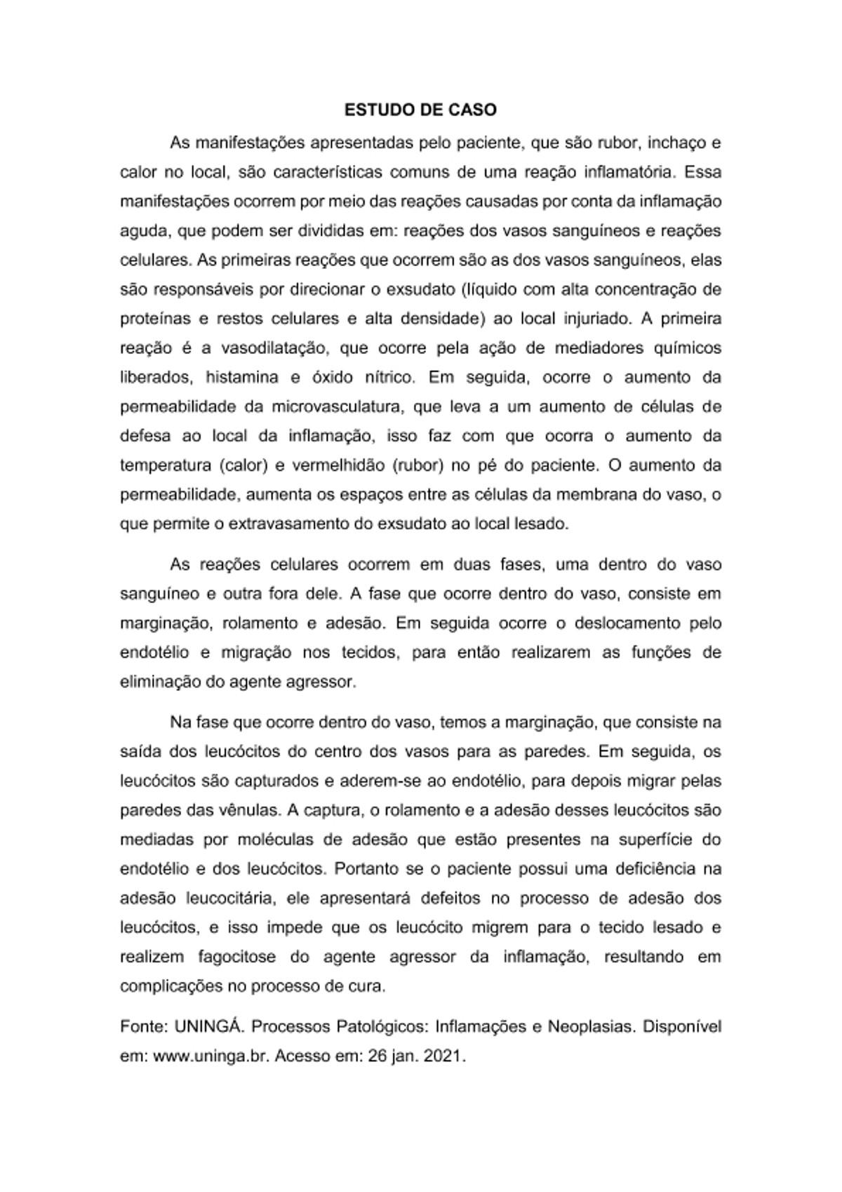 Pre-visualização do material ESTUDO DE CASO Processos Patológicos - página 1