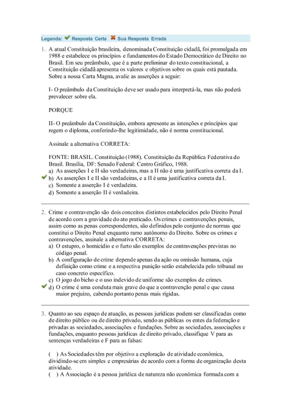 Pre-visualização do material Avaliação Final - Noções de Direitos - página 1