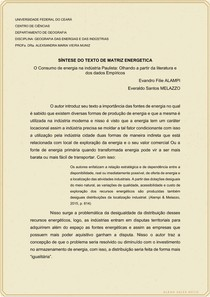 SÍNTESE DO TEXTO - O Consumo de energia na indústria Paulista - Olhando a partir da literatura e dos dados Empíricos