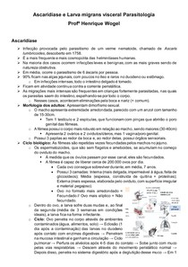 Ascaridíase e Larva migrans visceral Parasitologia Profº Wogel