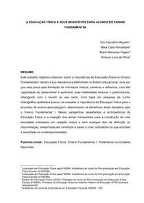 A EDUCAÇÃO FÍSICA E SEUS BENEFÍCIOS PARA ALUNOS DO ENSINO