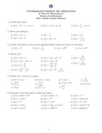 Lista 3 - Matemática I