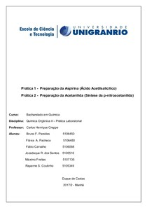 Relatório Crepe Quimica Organica II