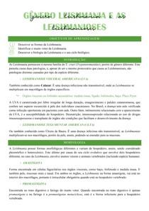 Gênero Leishmania e as Leishmanioses (Ciclo biológico, LVA, LTA,) - Parasitologia