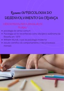 Resumo 01PSICOLOGIA DO DESENVOLVIMENTO DA CRIANÇA