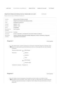 ATIVIDADE TELEAULA III PROJETOS DE PESQUISA EM SERVIÇO SOCIAL