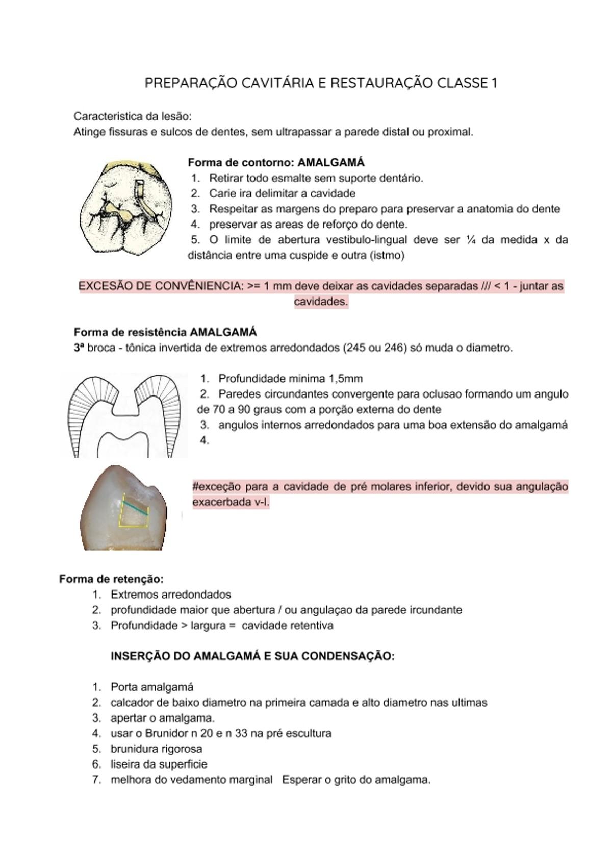 Pre-visualização do material PREPARAÇÃO CAVITÁRIA E RESTAURAÇÃO CLASSE 1 - página 1