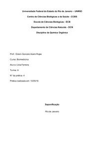 Química Orgânica - Saponificação