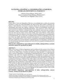 economia amazônica- considerações a partir da teoria da dependência marxista (artigo publicado nos anais do XXII ENEP)