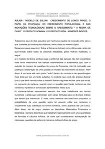 Economia - Aula 09 - Modelo de Solow e Numeros Indices