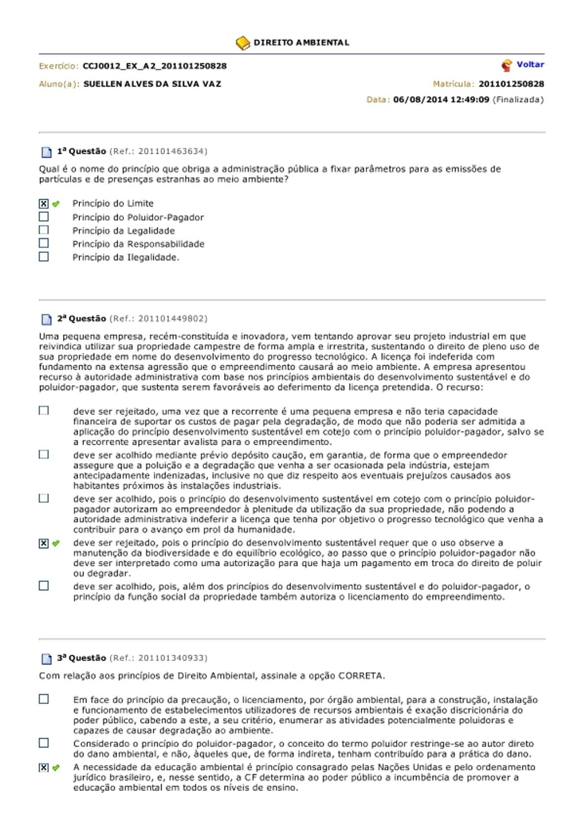 Pre-visualização do material Aula 2 gabarito direito ambiental - página 1
