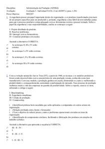Disciplina administraçãoda produção uniasselvi 1 prova  ead