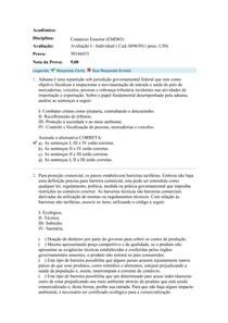 Avaliação I - Individual - Comércio Exterior