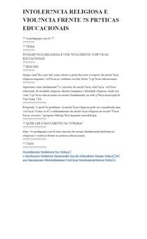 INTOLERÂNCIA RELIGIOSA E VIOLÊNCIA FRENTE ÀS PRÁTICAS EDUCACIONAIS