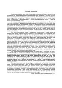 FISICA TEORIA DA RELATIVIDADE