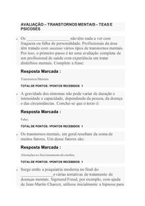 AVALIAÇÃO TRANSTORNOS MENTAIS TEAS E PSICOSES