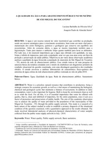 A QUALIDADE DA ÁGUA PARA ABASTECIMENTO PÚBLICO NO MUNICÍPIO DE SÃO MIGUEL DO TOCANTINS