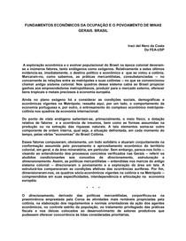 Iraci Costa - Fundamentos econômicos da ocupação de MG