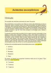 Acidentes Escorpiônicos (Epidemiologia, Veneno, Diagnóstico, Tratamento)