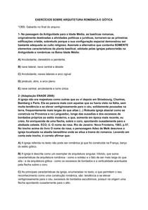 EXERCÍCIOS SOBRE ARQUITETURA ROMÂNICA E GÓTICA