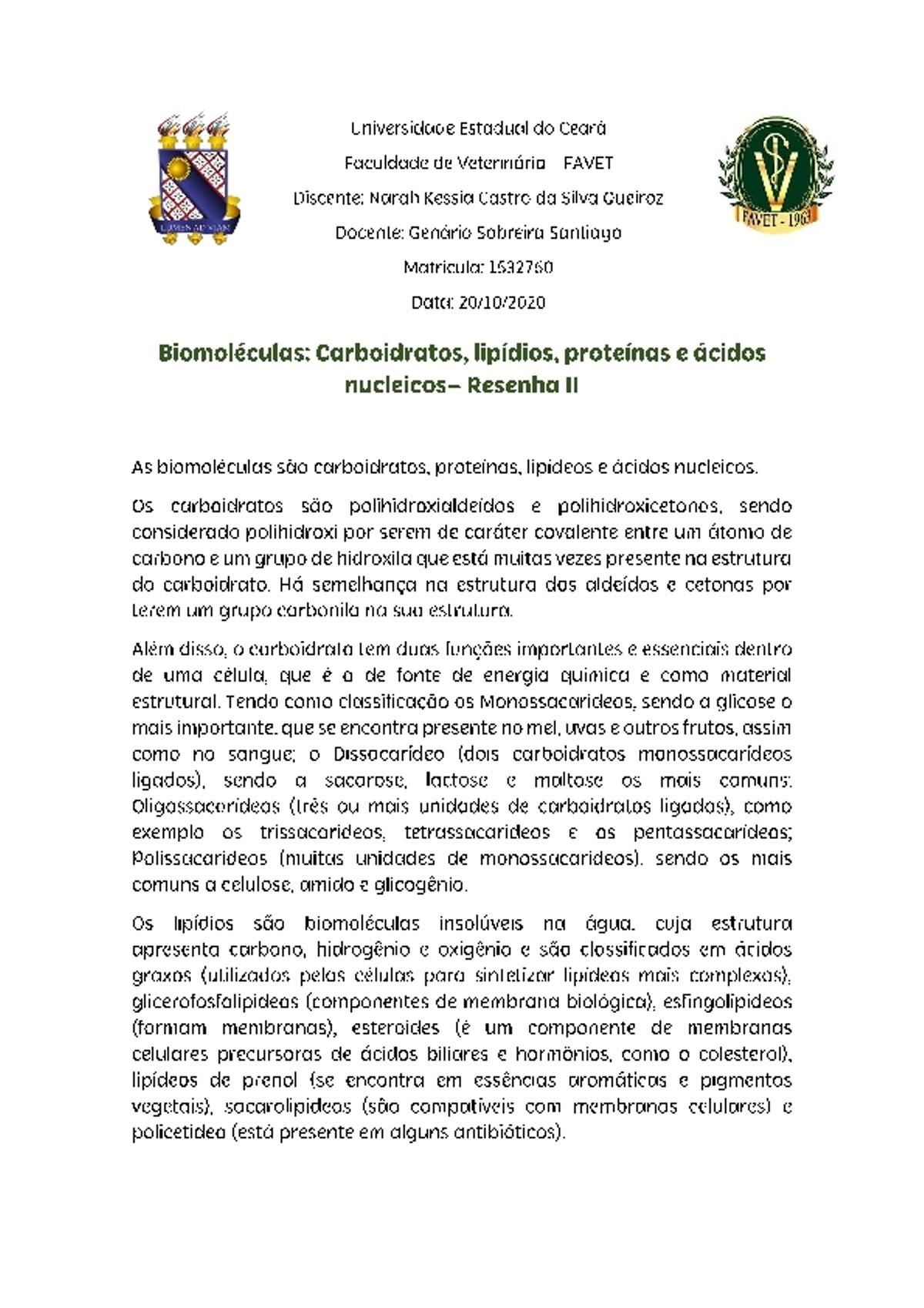 Pre-visualização do material Biomoléculas - Bioquimica - página 1
