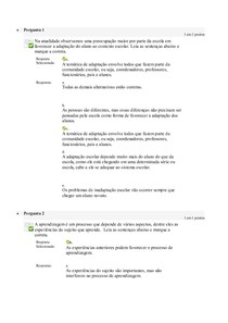 Avaliação On-Line 4 (AOL 4) - Questionário PSICOLOGIA E EDUCAÇÃO