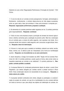 """Gabarito do curso online """"Negociações Preliminares e Formação do Contrato""""   FGV Online"""