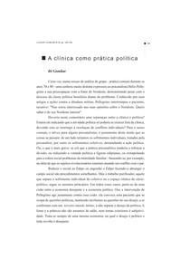 A Clínica Como Prática Política. Deleuze, G. e Guattari, F. Kafka. Por une littérature mineure. Paris Minuit, 1975, p.32.