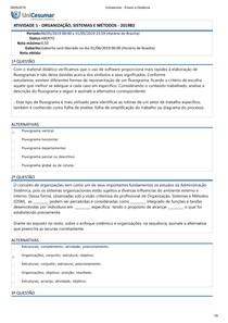 ATIVIDADE 1 - ORGANIZAÇÃO, SISTEMAS E MÉTODOS