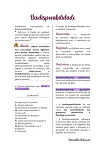 RESUMO - BIODISPONIBILIDADE DE NUTRIENTES