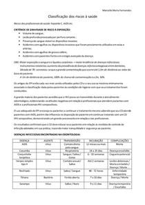 Classificação dos riscos à saúde